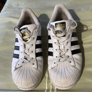 Adidas White & Black Superstar Lace Up Sneakers